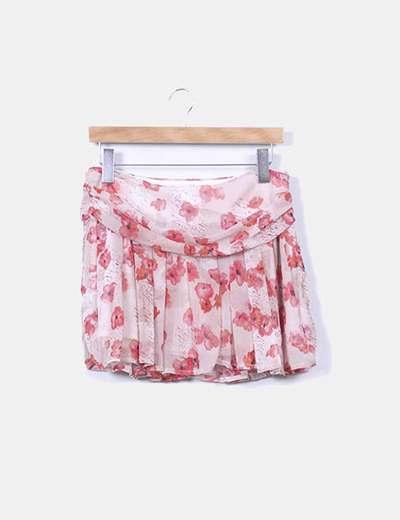 Mini falda floral de gasa Mango