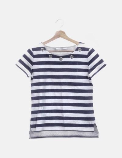 Camiseta manga corta rayas azul marino