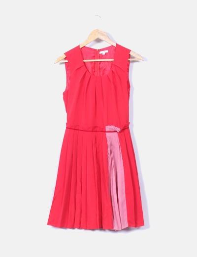 Vestido rojo y rosa con tablas Kling