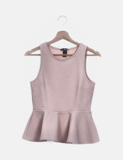 Blusa rosa palo peplum texturizada