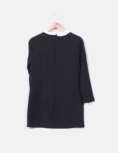 fabricación hábil aliexpress precio de calle Vestido negro cuello redondo y blanco