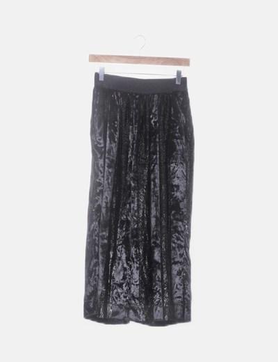 Culotte velvet negro rayas glitter