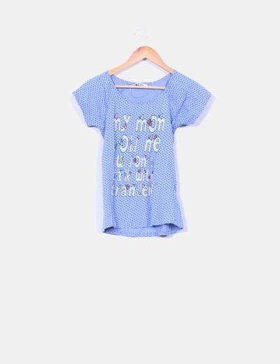 Camiseta azul print Pull&Bear