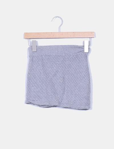 Mini falda gris texturizada Pull & Bear