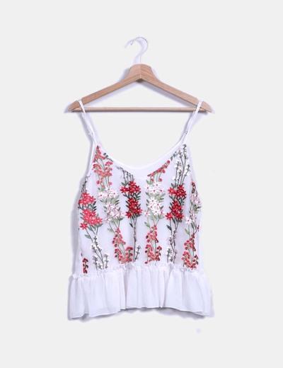 Blusa blanca floral avolantada NoName