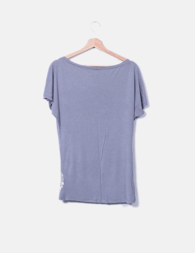 Camiseta larga gris print floral plateado