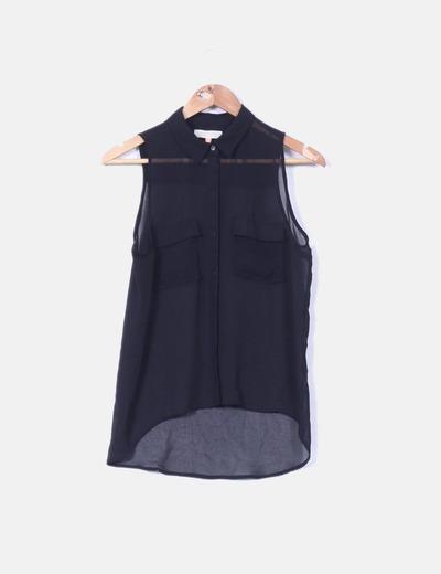 oferta especial descuento mejor valorado exuberante en diseño Blusa negra sin mangas transparente