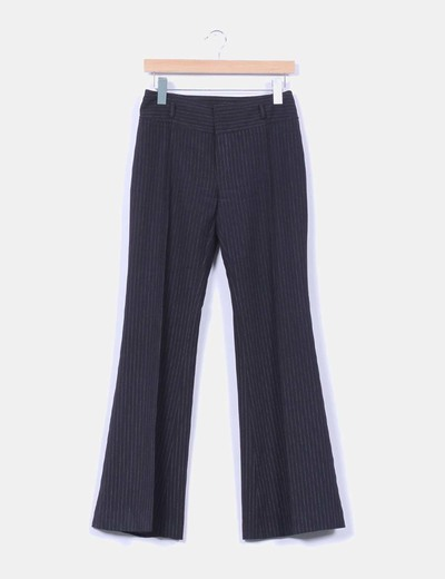 Pantalón negro de pinzas con raya diplomática Zara