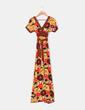 Maxi vestido marrón con estampado floral de manga corta Suiteblanco