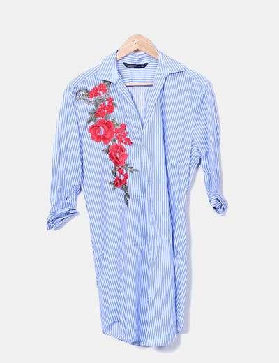 Vestido às riscas azul Zara