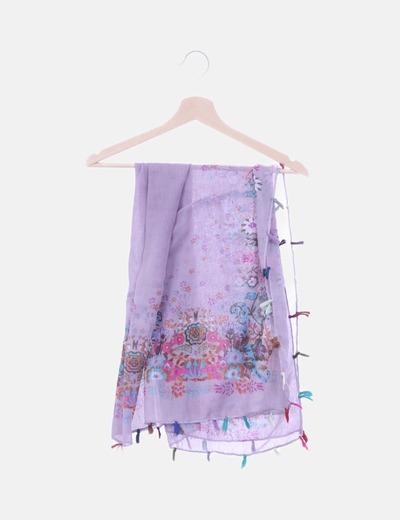 Pañuelo morado floral