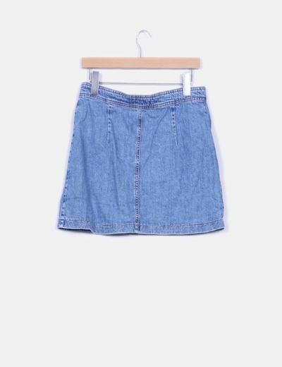 Mini falda denim con botones