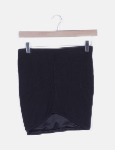 Falda tubo canalé negra