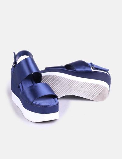 Azules Con De Raso Plataforma Sandalias JTl3KcF1