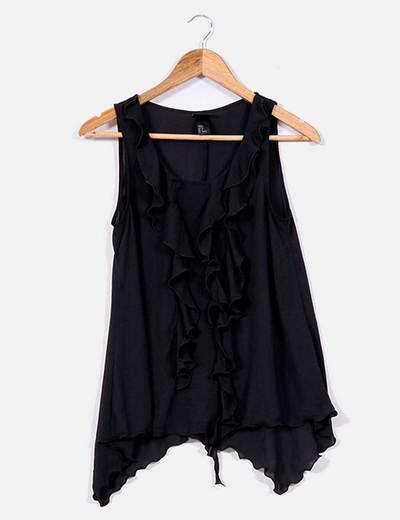 Blusa negra con volantes delanteros H&M