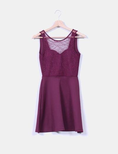 Vestido evasé berenjena H&M