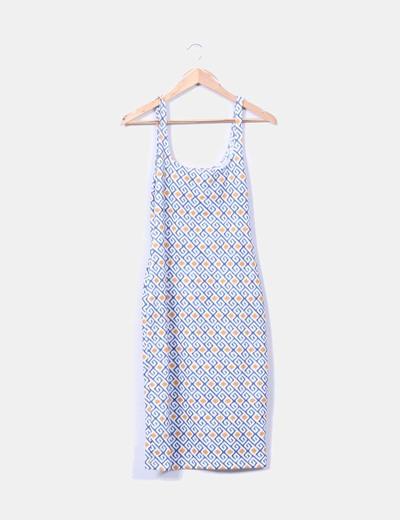 Vestido midi estampado escote cuadrado Zara