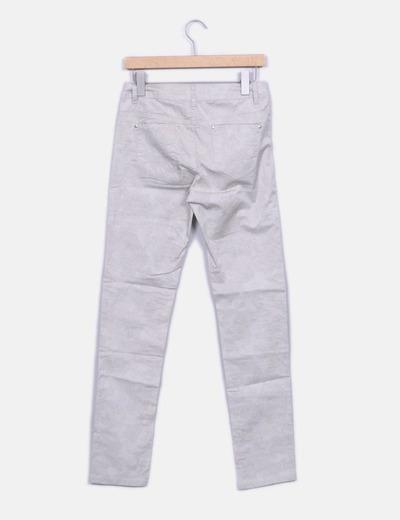 Pantalon recto beige estampado