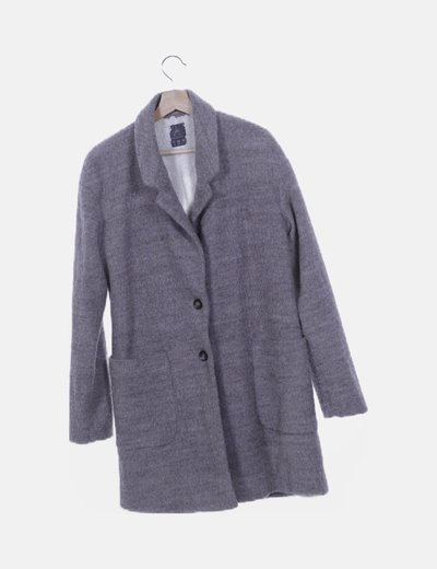 Abrigo lana gris con borreguito