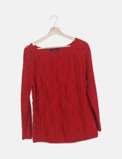 Jersey rojo mangas troqueladas