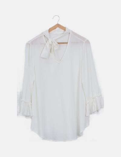 Blusa blanca manga volante lazada