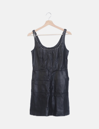 Vestido polipiel tachas