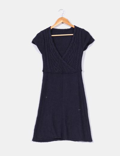 Vestido de punto azul marino