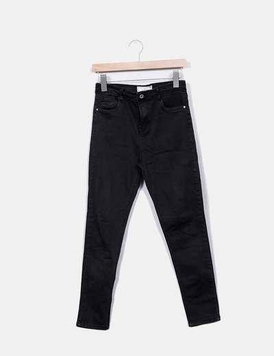 Jeans denim pitillo verde oscuro