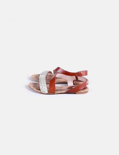 Sandalia plana bicolor