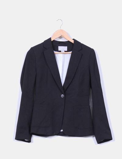 Blazer piqué negro H&M