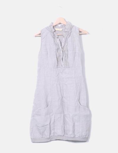 Vestido gris sin mangas