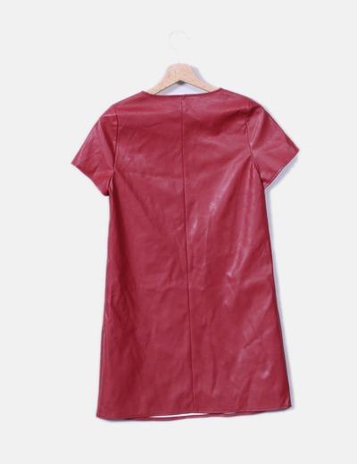 Vestido encerado granate de manga corta