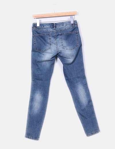 Jeans pitillo cremalleras laterales
