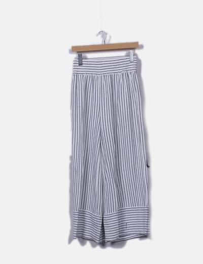 Pantalón fluido blanco rayas azules bordadas