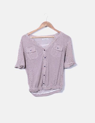 Camiseta estampado combinado con botones Pull&Bear