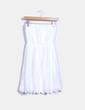 Vestido midi blanco escote palabra de honor Bershka