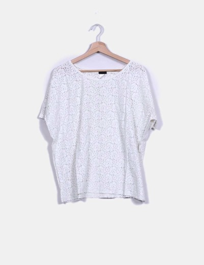 Top guipur oversize blanco H&M