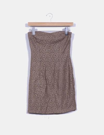 Vestido marrón con crochet Suiteblanco