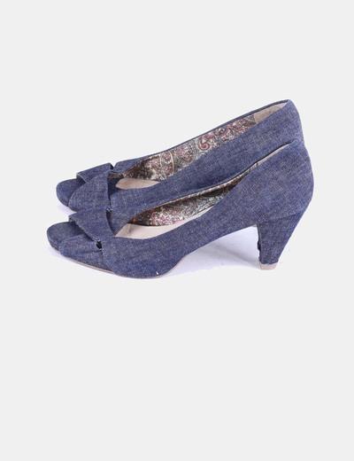 Zapato denim oscuro peep toe Unit