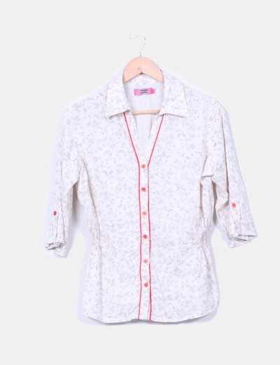 Camisa cruda estampada con ribete rojo Md'M