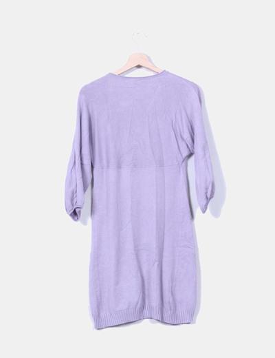 Vestido tricot lila escote en pico