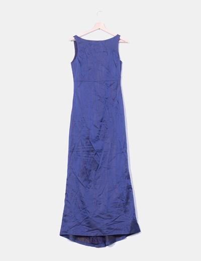 Vestido maxi raso azul marino