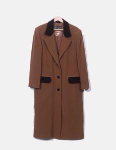 Abrigo largo marrón combinado Cortefiel 10dbdf700679