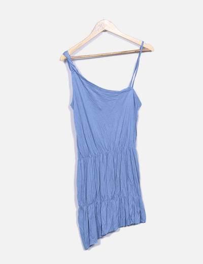 Vestido azul con tirante asimétrico