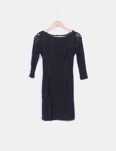 Vestido negro con encaje zara