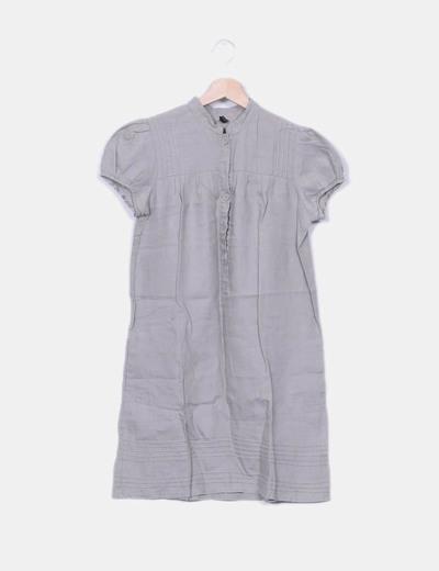 Vestido gris manga corta