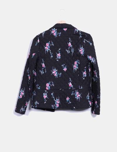 Chaqueta negra acolchada print floral