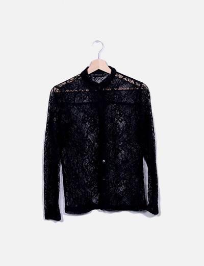 Camisa de renda preta Zara