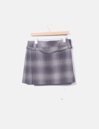 cecf205952c Mango Falda cuadros gris (descuento 74 %) - Micolet