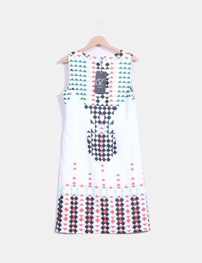 Vestido midi blanco estampado multicolor